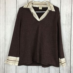 ON SALE Como Women's Brown Sparkle Shirt Sz XL